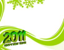 New years 2011. Green and white happy new years 2011 card with background design Stock Images