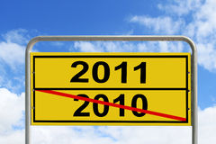 New Years 2011. 2010 next 2011 road sign royalty free illustration