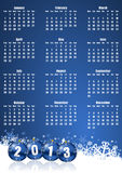 New years 2013 calendar. With christmas balls Stock Image