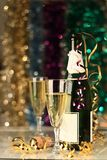 New years. Image of New years eve celebration with champagne glass and bottle Royalty Free Stock Photo