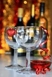 New years. Image of New years eve celebration with champagne glass and bottles Stock Images
