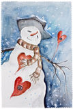 New Years amorous Snowman Stock Image