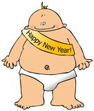 New Years Baby. This illustration depicts a baby with a banner across its chest Stock Photography