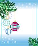 New years background. From the fir paws, balls and snowflakes stock illustration