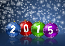 New years 2015 background. With christmas balls Royalty Free Stock Photography