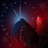 New Years background with a fiery rooster and hours. Vector illustration Royalty Free Stock Images