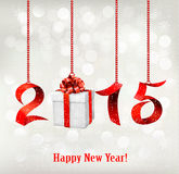 2015 New Years background with gift. Vector Royalty Free Stock Images