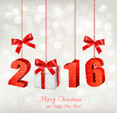 2016 New Years background with gift. Vector royalty free illustration