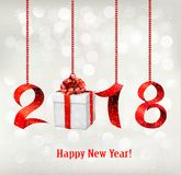 2018 New Years background with gift. Vector stock illustration