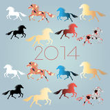 New Years background with horses Royalty Free Stock Photo