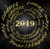 New Years background by 2019. New Year`s background by 2019, black and gold royalty free illustration