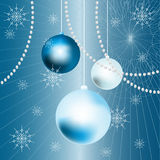 New Years balls blue background. New Years balls blue ornate background Royalty Free Stock Image