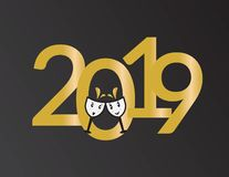 2019 New Years banner, numbers and cartoon wine glasses. 2019 New Years banner with golden numbers and cute cartoon wine glasses vector illustration