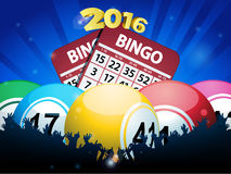 New Years Bingo balls and cards background Royalty Free Stock Image