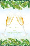 New years card. With pine tree and glasses of champagne Royalty Free Stock Photography