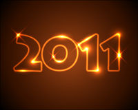 New Years card 2011. Golden / orange neon numbers Royalty Free Stock Photo