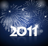 New Years card 2011 with fireworks. Blue and white version Stock Photography