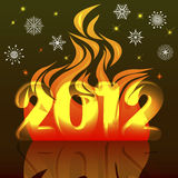 New Years card. New Years card 2012 with a flame and snowflakes Royalty Free Stock Photo