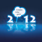 New Years Card. Abstract Blue Reflecting 2012 New Year's Card Stock Photo