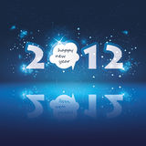 New Years Card. Blue Sparkling Starry Sky - Abstract 2012 New Year's Card Stock Image