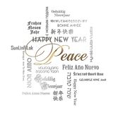 New Years Card Art Peace Lettering Languages. New Years Card Art Languages Peace Lettering dialects Gold Silver Elegant Paper Embossed logo poster print party royalty free illustration