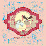 New years card with cats. New Year's card with horse and elk on the vintage background stock illustration