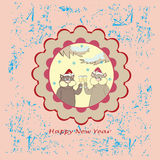 New years card with cats. New year's card with cats on the vintage background vector illustration