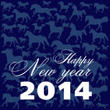 New Years card on a dark blue background. New Years card with white letters and blue horses on a dark blue background Stock Photos