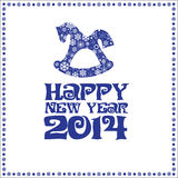 New Years card. With dark blue letters and a horse with snowflakes on a white background Stock Images