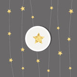 New years card 2017. With golden stars royalty free illustration