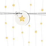 New years card 2017. With golden stars and label Royalty Free Stock Image