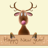 New Years card with the image of a deer on a light. New Years card with the image of a ridiculous brown deer on a light background with an inscription and Royalty Free Stock Image