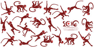 New years card with the jumping monkeys Royalty Free Stock Photos