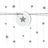 New years card 2017. Silver star. New years card 2017 silver stars and label Stock Images