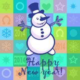 New Years card with a snowball. New Years card with a cheerful snowball, letters, figures, snowflakes, a horseshoe and stars on a multi-coloured background in a Royalty Free Stock Images