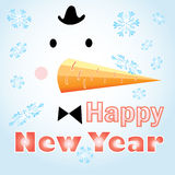 New Years card with a snowman Royalty Free Stock Images