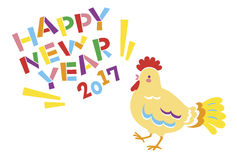 New Years card 2017, year of the cock. File Royalty Free Stock Image