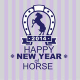 New Years card by a year of a horse 2014. The vector image of a dark blue horse and horseshoe with letters and figures on a striped background Stock Photos