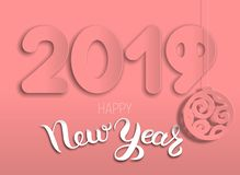New Years card year of pig 2019 from layers of paper Vector Illustration
