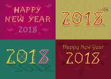 New Years 2018 Cards with Artistic numbers royalty free stock photography