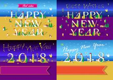 New Years Cards with beach, sea and houses. Happy New Year 2018. Four cards with inscriptions by artistic font. Letters and Numbers are as white houses. Night Stock Photo