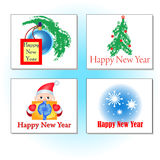 New Years cards. With different images stock illustration