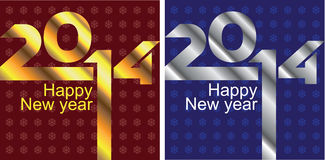 2 New Years cards. On a red and dark blue background with snowflakes Royalty Free Stock Images