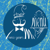 New years chef menu with cake on background Stock Images