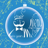 New years chef menu with cake on background Stock Photo
