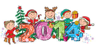 New Years children 2014. Contains transparent objects. EPS10 royalty free illustration