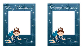 New Years and Christmas card. Picture cards for Christmas and New Year stock illustration