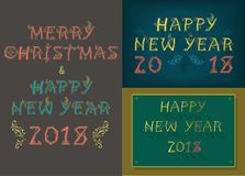 New Years and Christmas Cards. Happy New Year 2018. Merry Christmas. Three retro cards with inscriptions by artistic country font. Vector Illustration Stock Photos