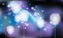 New Years, Christmas chaotic blur bokeh of light balloons on background purple. Snowflakes. Vector illustration for design and dec. Orating royalty free illustration