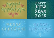 New Years and Christmas Country Cards. Happy New Year 2018 and Merry Christmas. Four retro cards with inscriptions by artistic country font. Vector Illustration Stock Photo